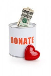 Donation can and heart